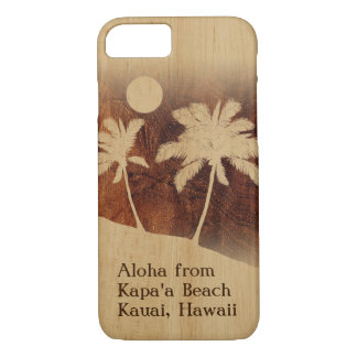 Kapaa Sunset Hawaiian Faux Koa Wood Twin Palm iPhone 8/7 Case
