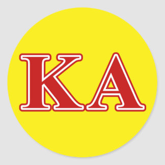 Kappa Alpha Order Red Letters Classic Round Sticker