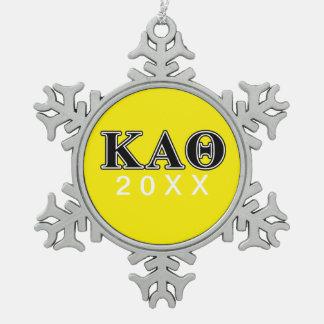 Kappa Alpha Theta Black Letters Snowflake Pewter Christmas Ornament