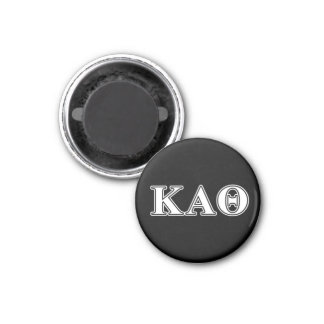 Kappa Alpha Theta White and Black Letters 3 Cm Round Magnet