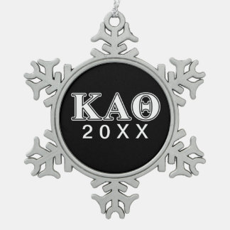 Kappa Alpha Theta White and Black Letters Snowflake Pewter Christmas Ornament
