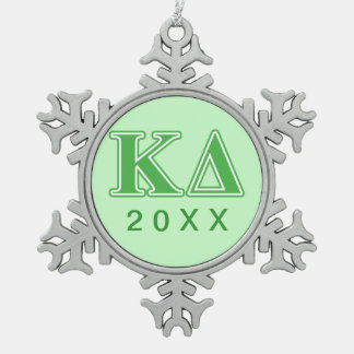 Kappa Delta Green Letters Snowflake Pewter Christmas Ornament