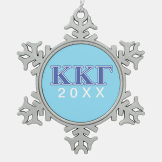 Kappa Kappa Gamma Royal Blue Letters Snowflake Pewter Christmas Ornament