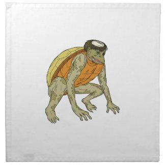 Kappa Monster Crouching Drawing Napkin
