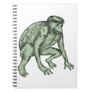 Kappa Monster Crouching Tattoo Notebooks