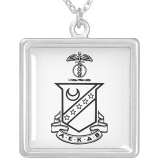 Kappa Sigma Crest - Black and White Silver Plated Necklace