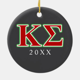 Kappa Sigma Red and Green Letters Ceramic Ornament