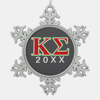 Kappa Sigma Red and Green Letters Snowflake Pewter Christmas Ornament
