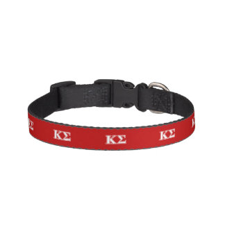Kappa Sigma White and Red Letters Pet Collar