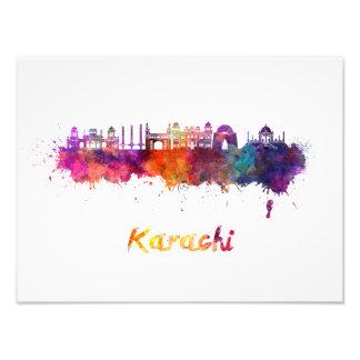 Karachi skyline in watercolor photo print