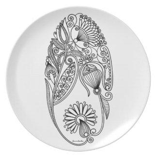 Karakoko Home Folk Floral Dinner Plate White Pure