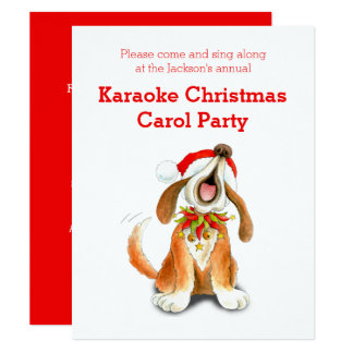 Karaoke Christmas carol party invitation