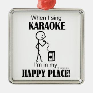 Karaoke Happy Place Metal Ornament