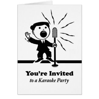Karaoke Party Invitation, Vintage Singer at Mic Card