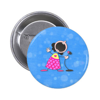 karaoke queen-blue 6 cm round badge