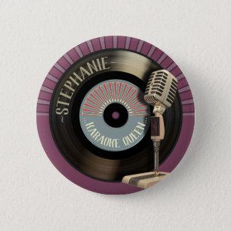 Karaoke Queen Retro Mic And Record 6 Cm Round Badge