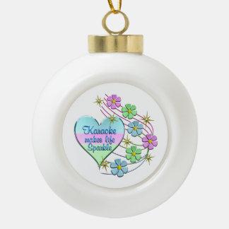 Karaoke Sparkles Ceramic Ball Christmas Ornament
