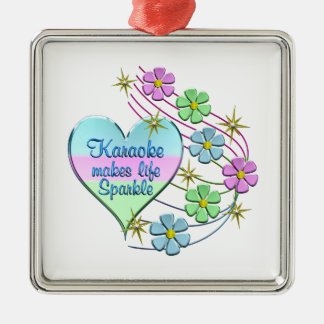 Karaoke Sparkles Metal Ornament
