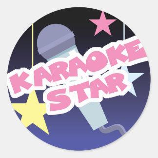 karaoke star round sticker