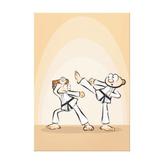 Karate action battle of two opponents canvas print