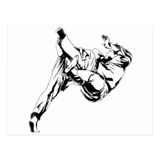 Karate and a judo. Technics of throws Postcard