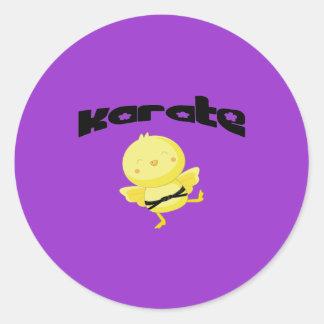 Karate chick round sticker