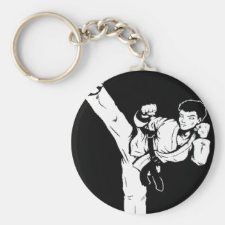 karate empty hand basic round button key ring