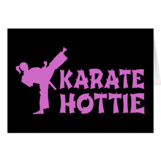 Karate Hottie - female martial artist pink Card