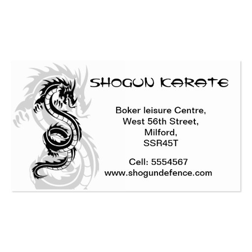 Karate Instructor Business card
