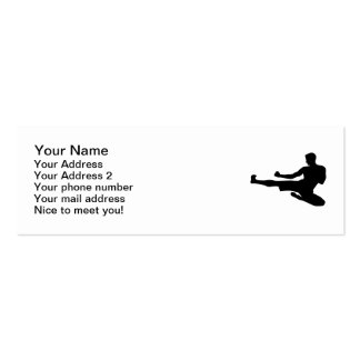 Karate jump kick business card template