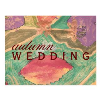 Karate Kat autumn wedding save-the-date Postcard