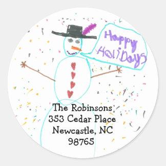 Karate Kat holiday return address Round Sticker