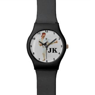 Karate Kicking Black Belt Customizable Watch