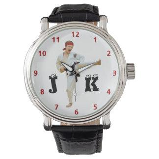Karate Kicking Black Belt Customize Monogram Watch