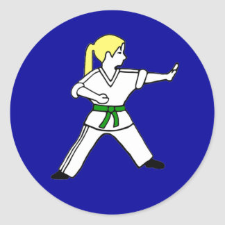 Karate Kid Girl #6 blond hair green belt Classic Round Sticker