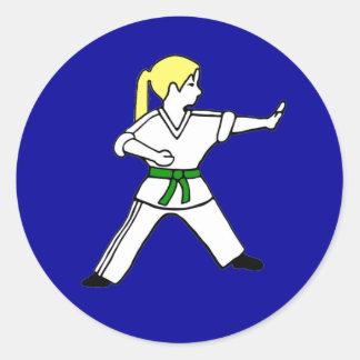 Karate Kid Girl #6 blond hair green belt Round Sticker