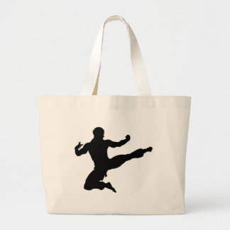 Karate Kung Fu Flying Kick Man Silhouette Large Tote Bag