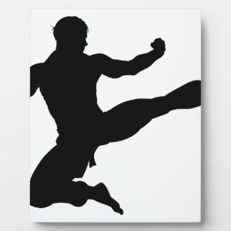 Karate Kung Fu Flying Kick Man Silhouette Plaque
