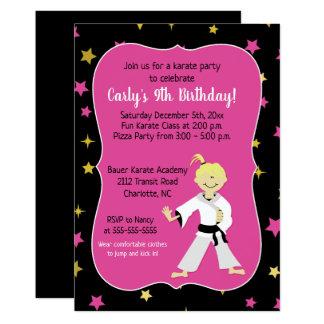 Karate Party Girl Birthday Invites