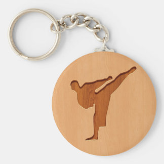 Karate silhouette engraved on wood effect basic round button key ring