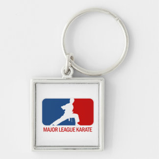 Karate Silver-Colored Square Key Ring