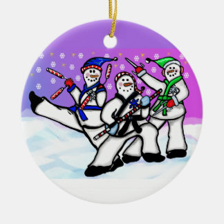 Karate Snowmen with Weapons Ornament Round