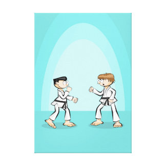 Karate students begin battle canvas print