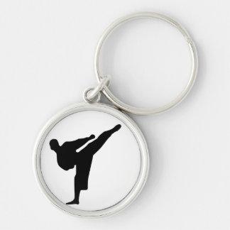 Karate / Taekwondo Kick Silhouette Round Keychain