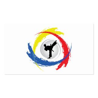 Karate Tricolor Emblem Pack Of Standard Business Cards