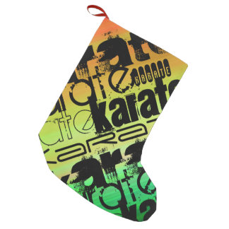 Karate; Vibrant Green, Orange, & Yellow Small Christmas Stocking