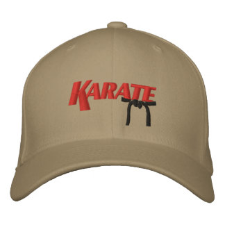 karate with black belt embroidered hat