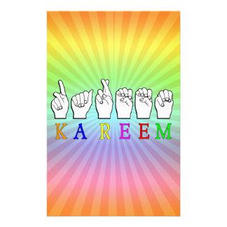 KAREEM ASL FINGERSPELLED NAME SIGN DEAF STATIONERY