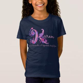 Karen girls name meaning K monogram hearts T-Shirt
