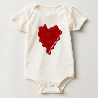 Karen. Red heart wax seal with name Karen Baby Bodysuit